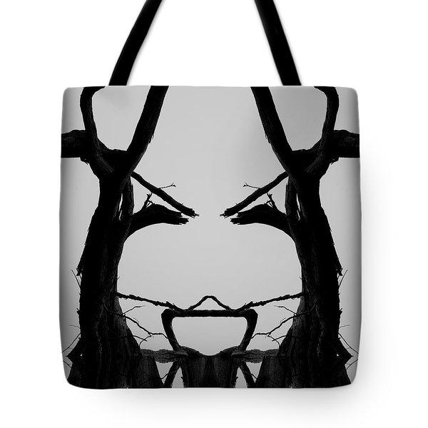 Tree Face I Bw Sq Tote Bag