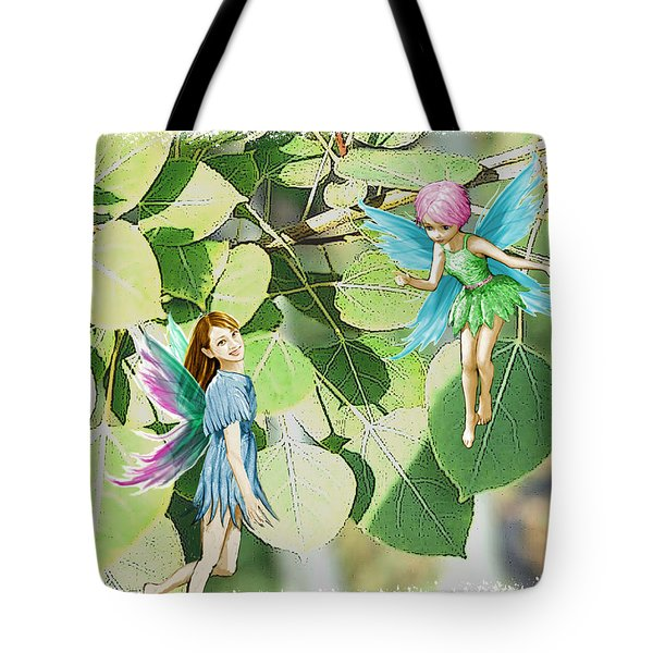Tree Fairies Among The Quaking Aspen Leaves Tote Bag