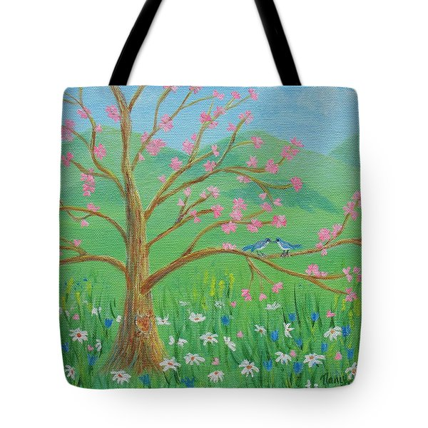 Tote Bag featuring the painting Tree For Two by Nancy Nale