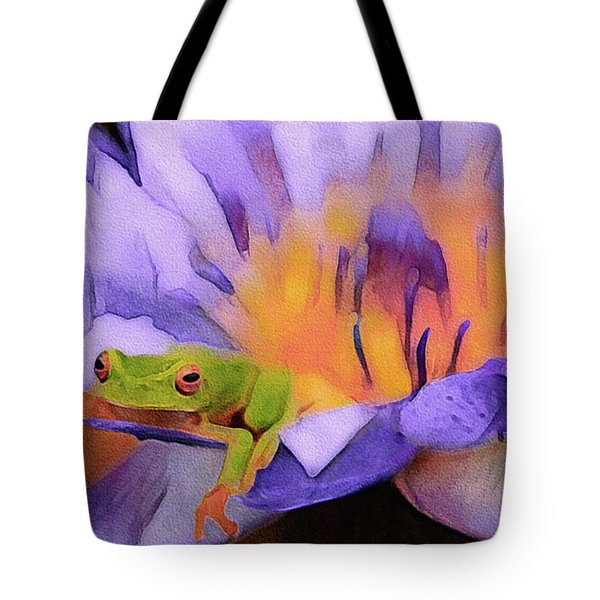 Tote Bag featuring the mixed media Tree Frog In Repose by Susan Maxwell Schmidt