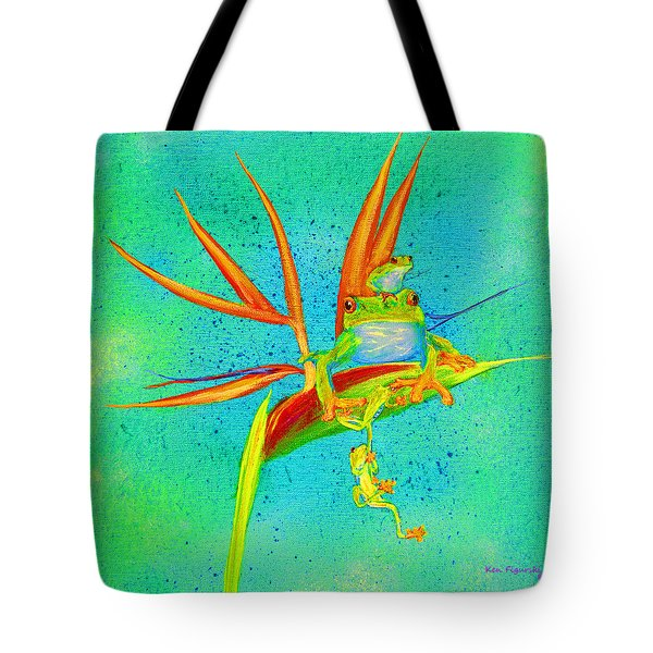 Tree Frog On Birds Of Paradise Square Tote Bag