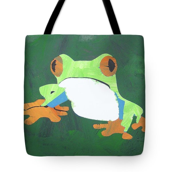 Tote Bag featuring the painting Tree Frog by Candace Shrope