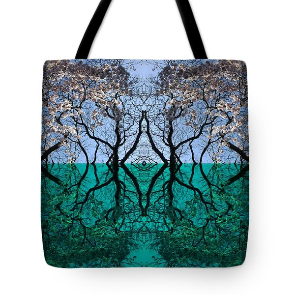 Tree Gate Between Water And Sky Worlds Tote Bag