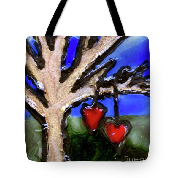 Tote Bag featuring the painting Tree Hearts by Genevieve Esson