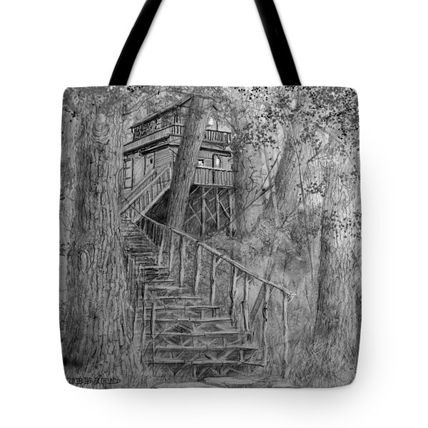 Tote Bag featuring the drawing Tree House #1 by Jim Hubbard