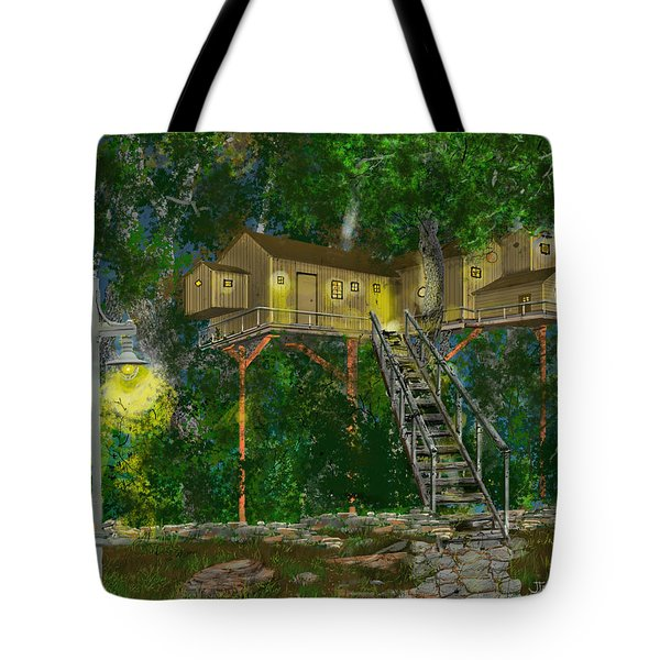 Tote Bag featuring the drawing Tree House #10 by Jim Hubbard
