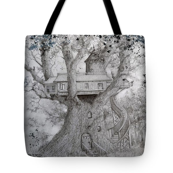 Tote Bag featuring the drawing Tree House #2 by Jim Hubbard
