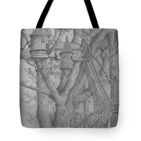 Tote Bag featuring the drawing Tree House #3 by Jim Hubbard