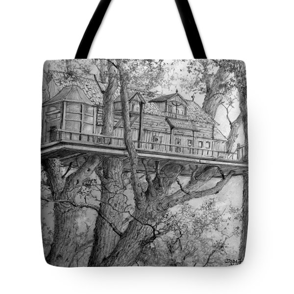 Tote Bag featuring the drawing Tree House #4 by Jim Hubbard