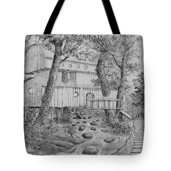 Tote Bag featuring the drawing Tree House #5 by Jim Hubbard
