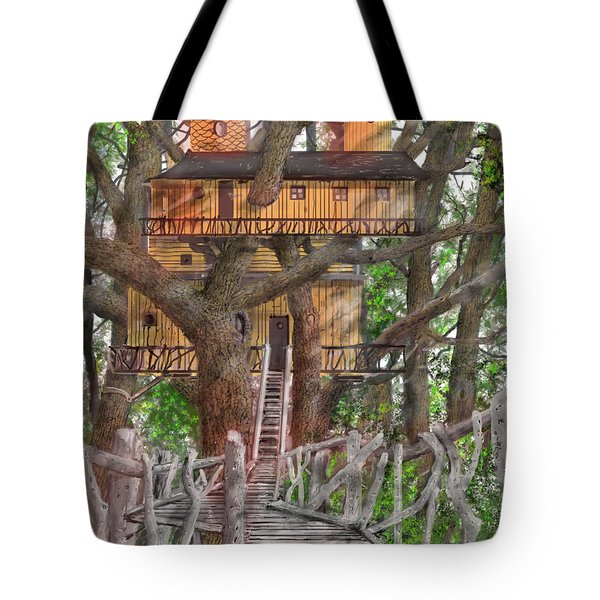 Tote Bag featuring the drawing Tree House #6 by Jim Hubbard