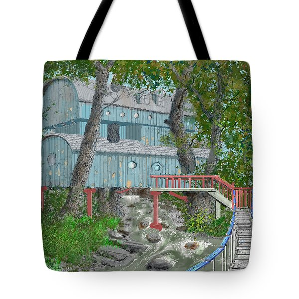 Tote Bag featuring the drawing Tree House Digital Version by Jim Hubbard