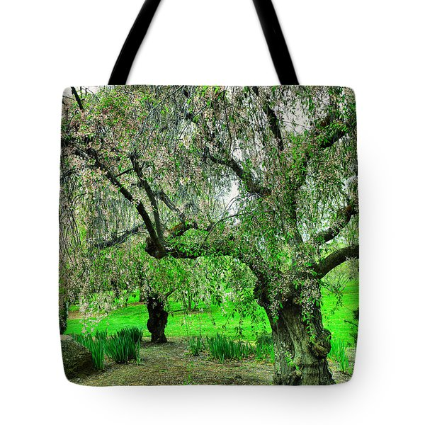 Tree In Bloom In A Japanese Garden Tote Bag