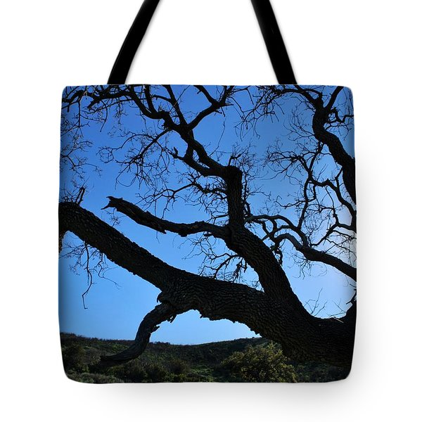 Tree In Rural Hills - Silhouette View Tote Bag