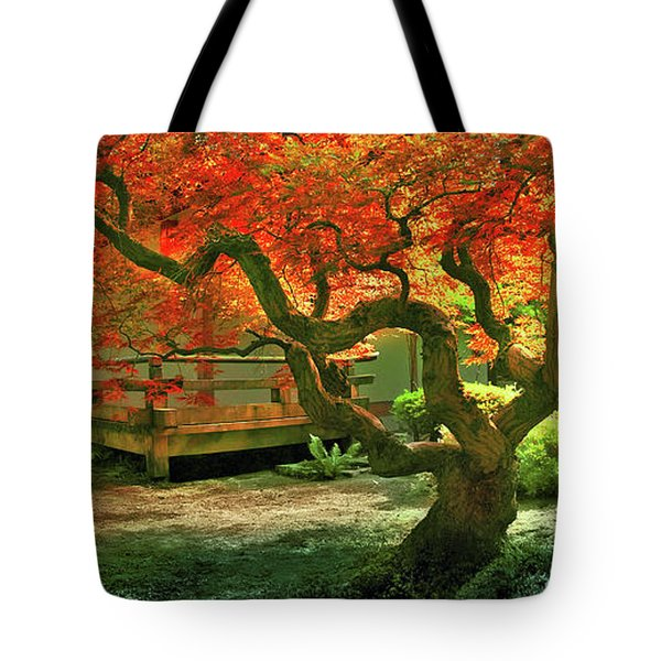 Tree, Japanese Garden Tote Bag by Marius Sipa