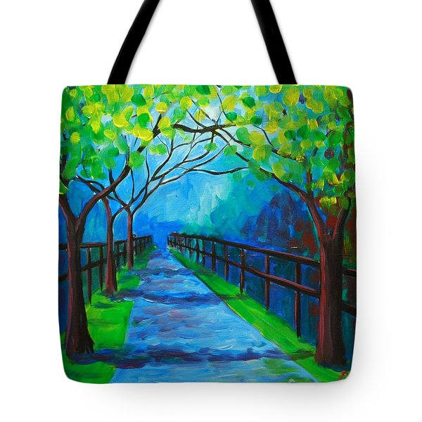 Tree Lined Fence Tote Bag
