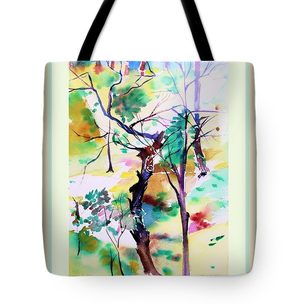 Tote Bag featuring the painting Tree Lovers by Mindy Newman