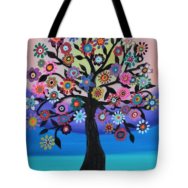 Tote Bag featuring the painting Blooming Tree Of Life by Pristine Cartera Turkus