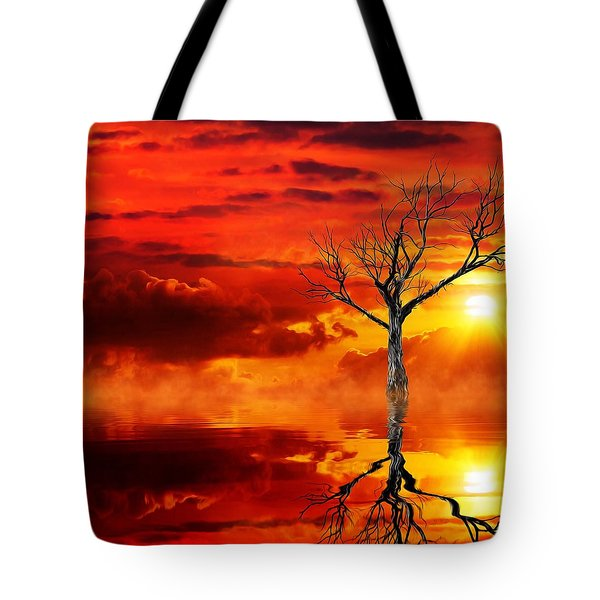 Tote Bag featuring the mixed media Tree Of Destruction by Gabriella Weninger - David