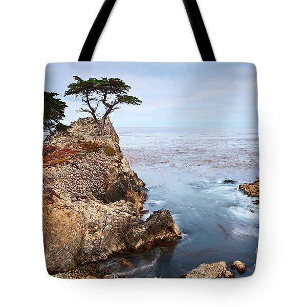 Tree Of Dreams - Lone Cypress Tree At Pebble Beach In Monterey California Tote Bag
