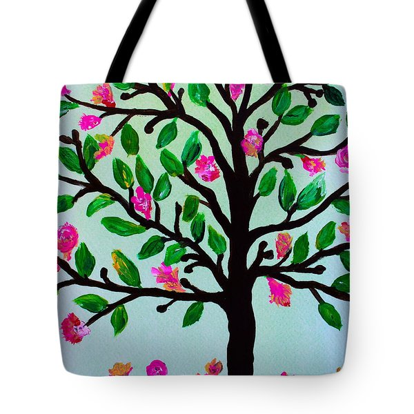Tote Bag featuring the painting Tree Of Essence by Pristine Cartera Turkus
