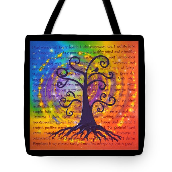 Tree Of Life And Positive Affirmations Tote Bag