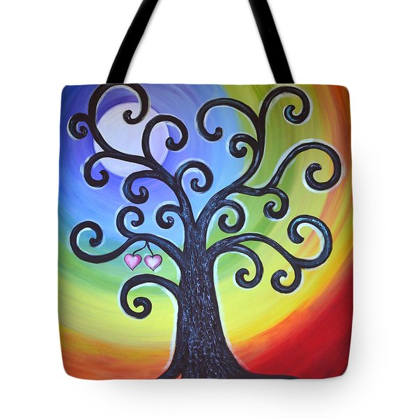 Tote Bag featuring the painting Tree Of Life Love And Togetherness by Agata Lindquist