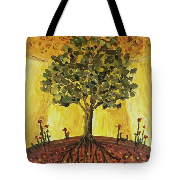Tote Bag featuring the painting Tree Of Life by Maria Langgle