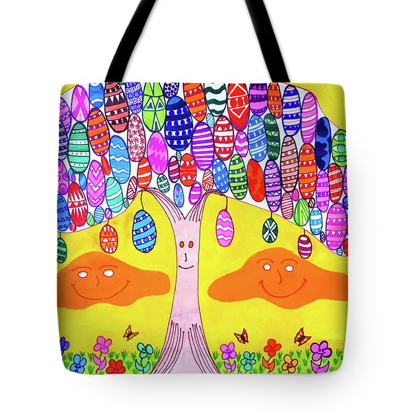 Tree Of The Easter Eggs Tote Bag