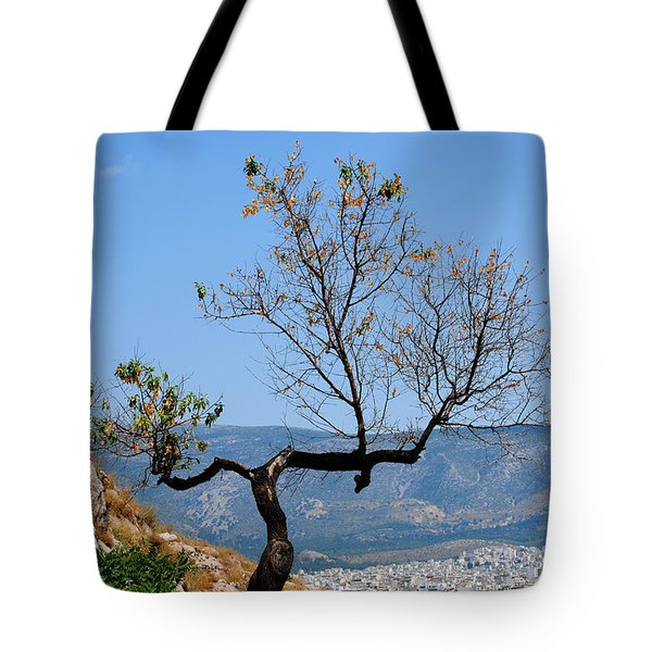 Tree On Acropolis Hill Tote Bag