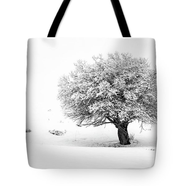 Tree On Snowy Slope Tote Bag