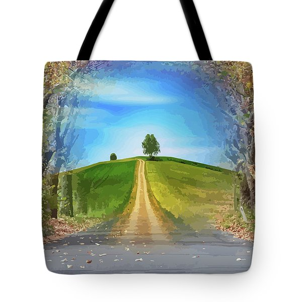 Tree On The Hill Montage Tote Bag