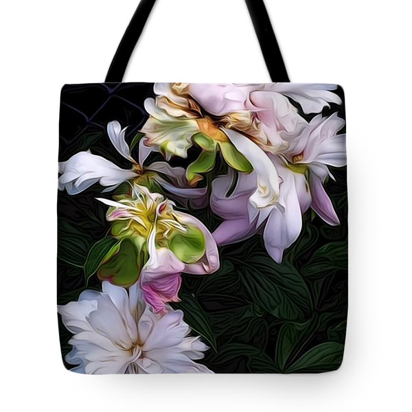Tote Bag featuring the digital art Tree Peony by Alexis Rotella