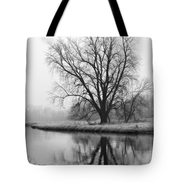 Tree Reflection In The Fox River On A Foggy Day Tote Bag
