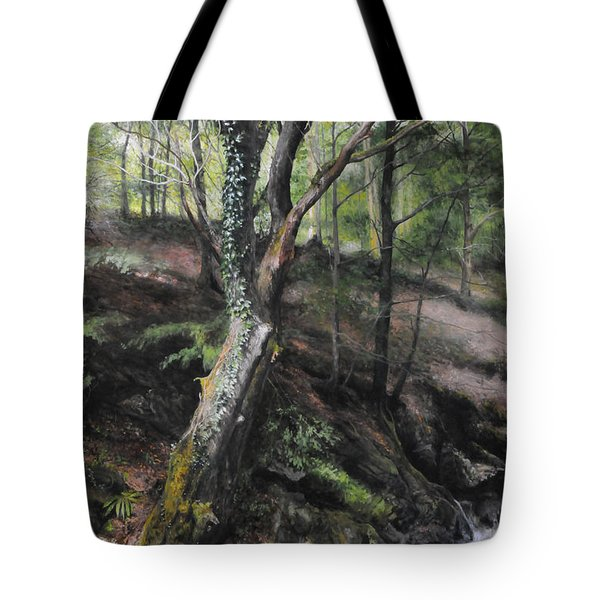 Tree River Wood Tote Bag