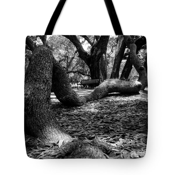 Tree Root In Black And White Tote Bag