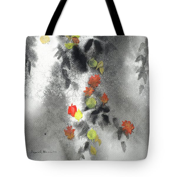 Tree Shadows And Fall Leaves Tote Bag