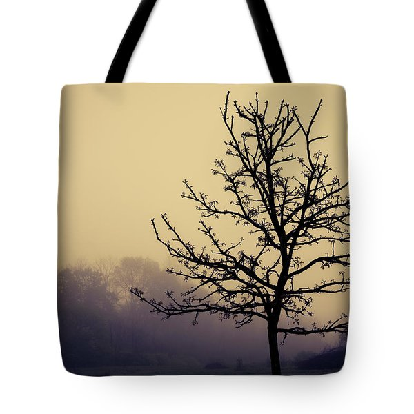 Tree Silhouette On A Foggy Morn Tote Bag