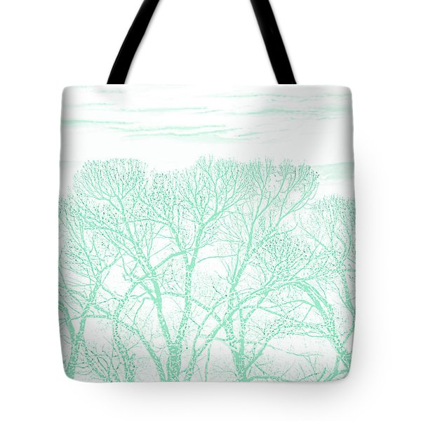 Tote Bag featuring the photograph Tree Silhouette Teal by Jennie Marie Schell