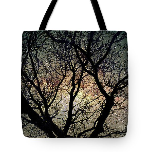 Tote Bag featuring the photograph Tree Silhouette With Stars. by Yulia Kazansky