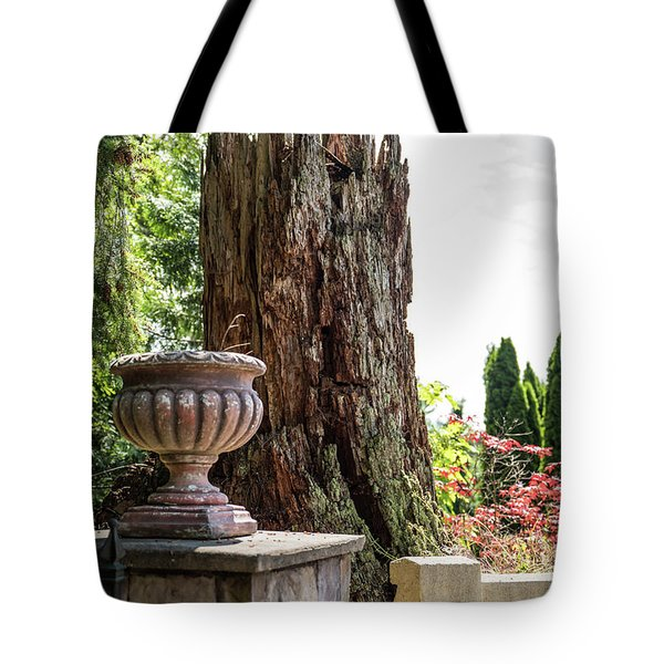Tree Stump And Concrete Planter Tote Bag
