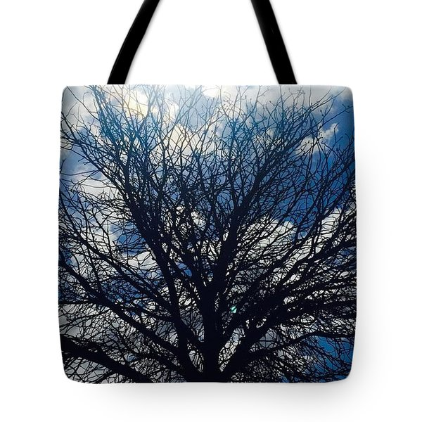 Tree Sun And Blue Sky Tote Bag