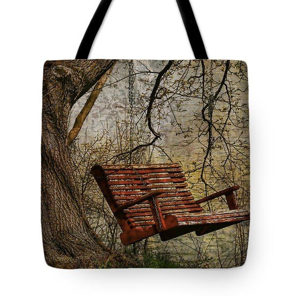 Tree Swing By The Lake Tote Bag by Deborah Benoit