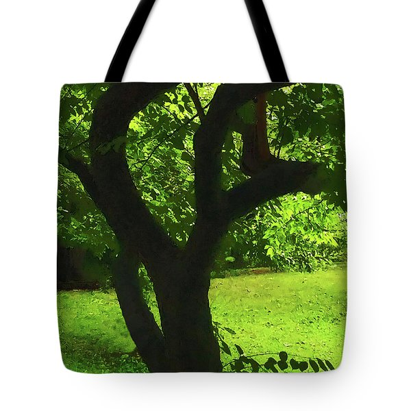 Tree Trunk Green Tote Bag