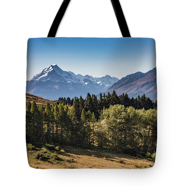 Tote Bag featuring the photograph Tree View Of Mt Cook Aoraki by Gary Eason