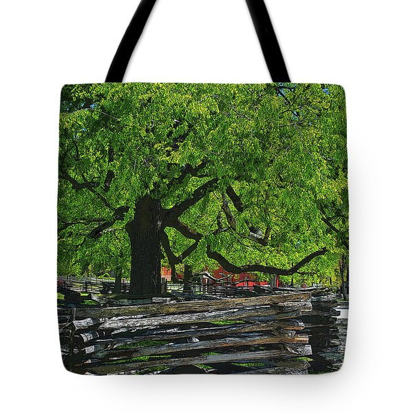 Tree With Colonial Fence Tote Bag
