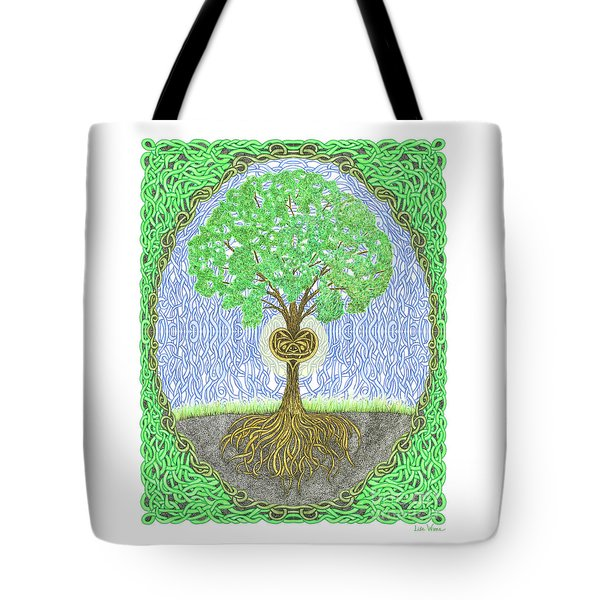 Tote Bag featuring the digital art Tree With Heart And Sun by Lise Winne