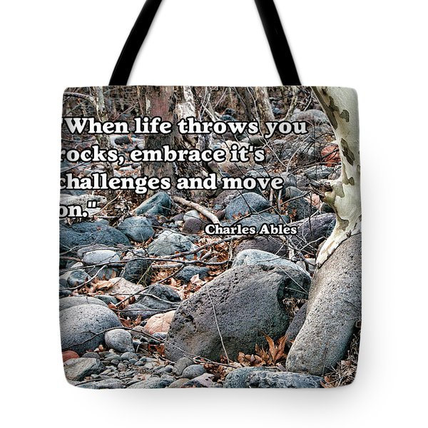 Tree With Quote Tote Bag by Charles Ables