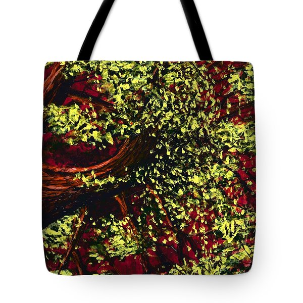 Tree With Red Sky Tote Bag