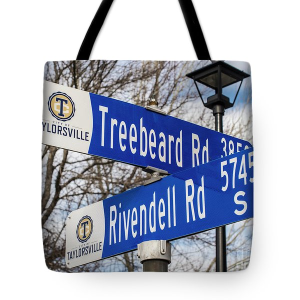 Treebeard And Rivendell Street Signs Tote Bag by Gary Whitton